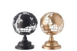 Theelicht houder wereldbol metaal goud