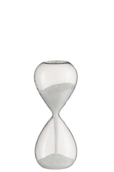 Zandloper glas glitter wit S