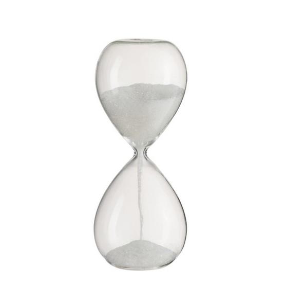 Zandloper glas glitter wit M