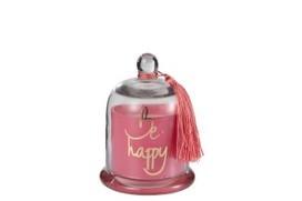 Geurkaars Stolp Happy Glas Roze Medium-30u