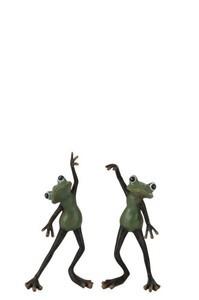Kikkers Dansend Polyresine Groen/Bruin Small Assortiment Van 2