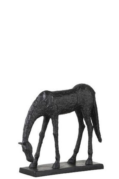 Paard Kop Naar Beneden Poly Zwart