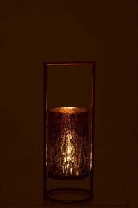 Windlicht Virginie Glas/Metaal Goud/Roze Large