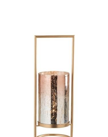 Windlicht Virginie Glas/Metaal Goud/Roze small