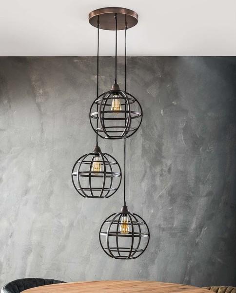Hanglamp globe getrapt