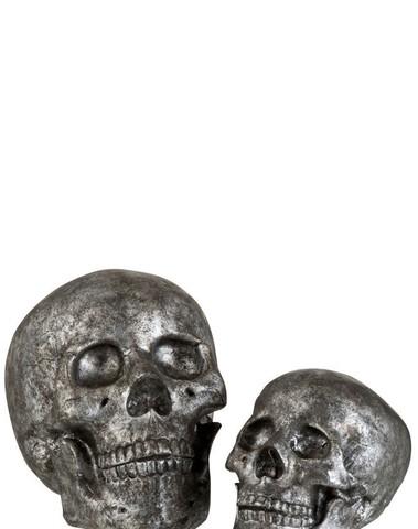 Schedel Poly Grijs/Zilver Large