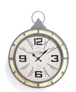 Pocket Watch Clock Wood/Steel