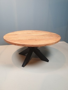 Black Iron Canter Table Wooden Top