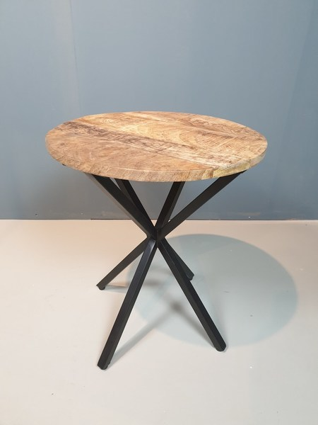 Black Iron side Stool Wooden Top
