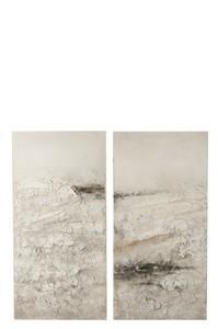 Set Van 2 Schilderij Elena Canvas/Hout Wit/Zwart