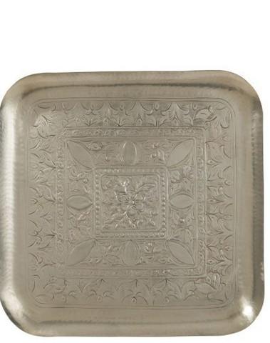 Plateau Vierkant Aluminium Grijs Small