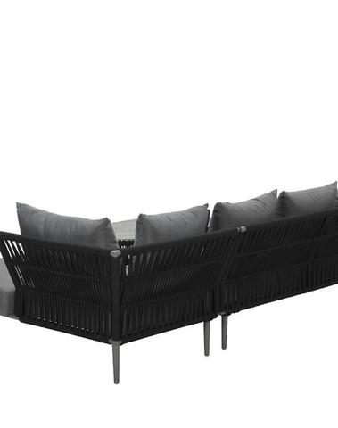 Noblesse loungeset   Rope zwart / licht grijs