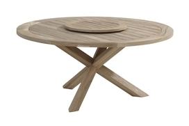 Louvre tafel teak rond 160cm inclusief lazy susan