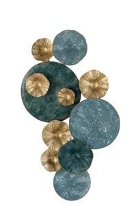 Wanddeco Cirkels Metaal Blauw/Goud