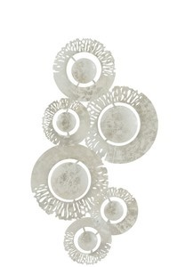 Wanddeco Cirkel In Cirkel Metaal Wit/Zilver