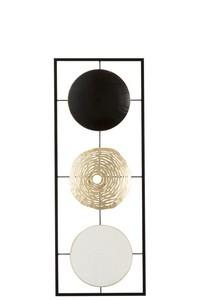 Wanddeco 3cirkels Metaal Wit/Goud/Zwart