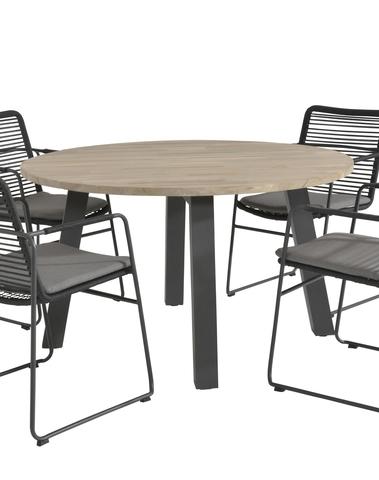 Elba Dining set+ Derby teak tafel rond 130cm