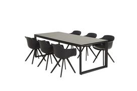 Solid Dining + Heritage ceramic tafel 220cm antraciet