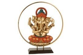 Ganesha In Cirkel Poly Goud/Oranje/Turquoise
