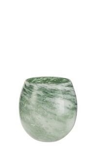 Vaas Rond Glas Groen Wit Small