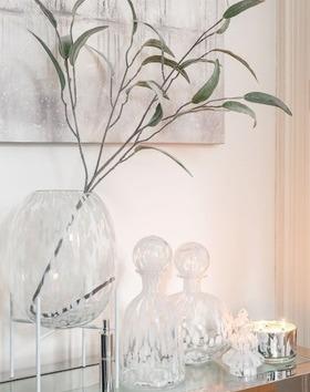 karaf Stip Glas Transparant/Wit Small