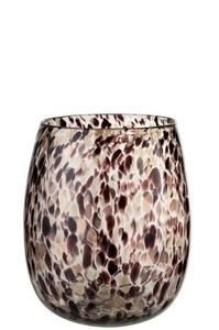 Vaas Stippen Glas Donker Bordeaux/Goud