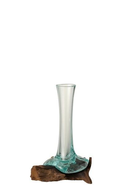 Vaas Op Voet  Hout/ Glass Small