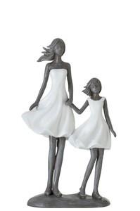 Moeder Met Kind Poly Wit/Grijs
