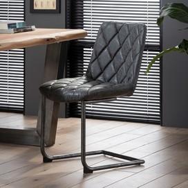 Grid stoel sledepoot zwart