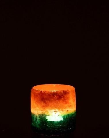 Windlicht Malou Glas Oranje/Turq Small
