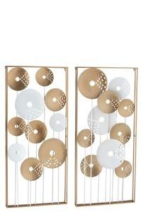 Wanddecoratie 10 Cirkels Metaal Goud/Wit 1stuk