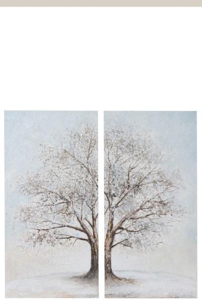 Schilderij set van twee boom