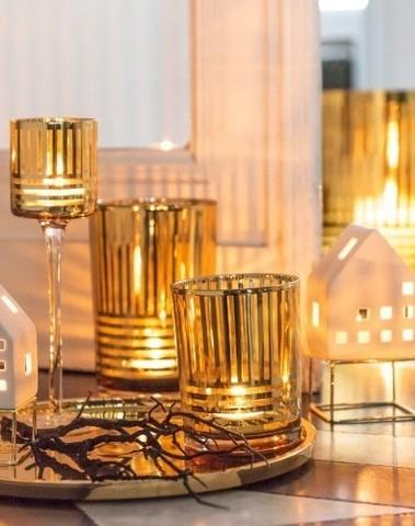 Theelichthouder streep goud glas Smal en medium