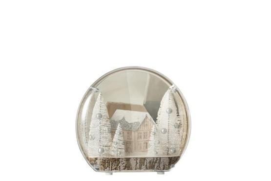 Decoratie Winter Huis+Bomen Led Acryl Wit Small