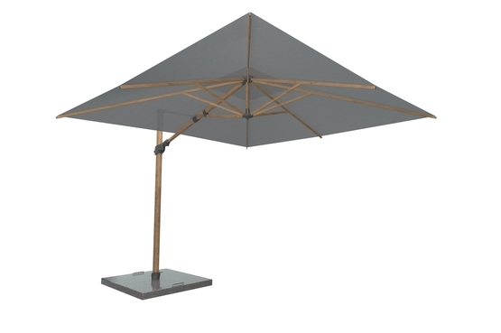 Siesta Premium parasol Charcoal 300*300 met WOOD LOOK frame