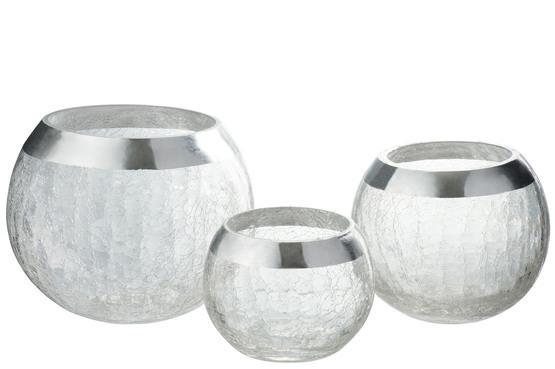 Kaarshouder Bol Craquele Glas Small + large