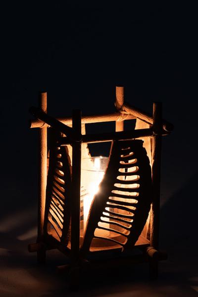 Kaarsenhouder Bamboo/Glas Naturel Small
