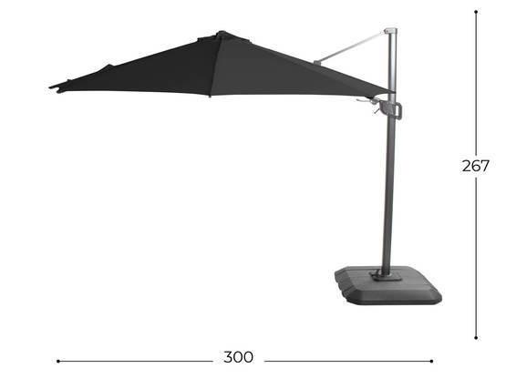 Parasol Hartman shadow flex 300cm royal grey