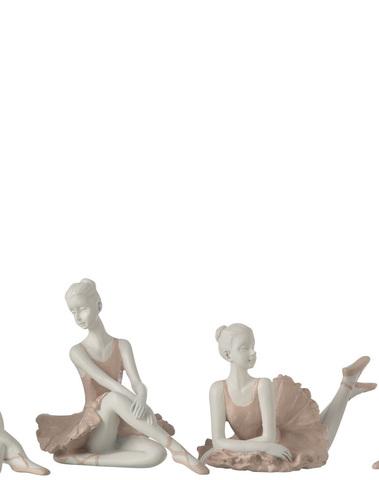 Ballerina Zittend Poly Roze Assortiment Van 4