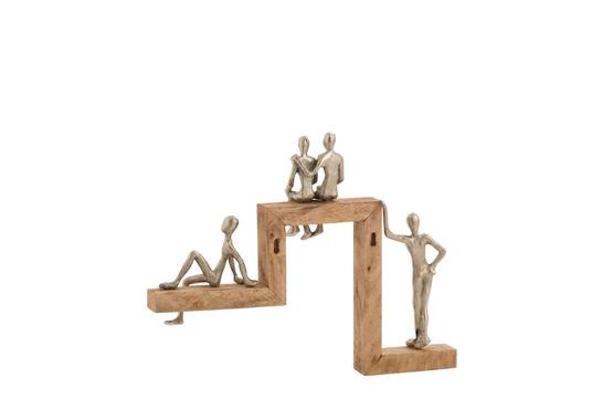 Figuren 4 Relax Trap Aluminium/Mango Hout Zilver/Naturel
