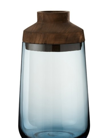 Vaas Tweedelig Glas Hout Donker Bruin Blauw Large