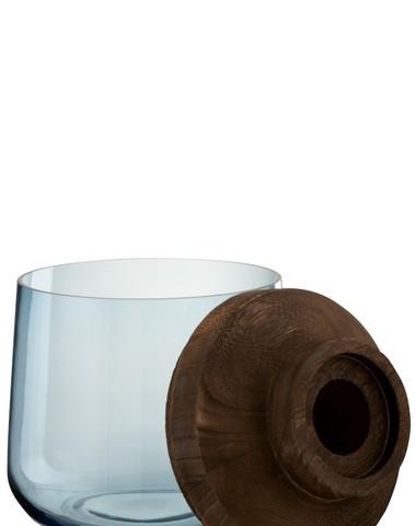 Vaas Tweedelig Glas Hout Donker Bruin Blauw Small