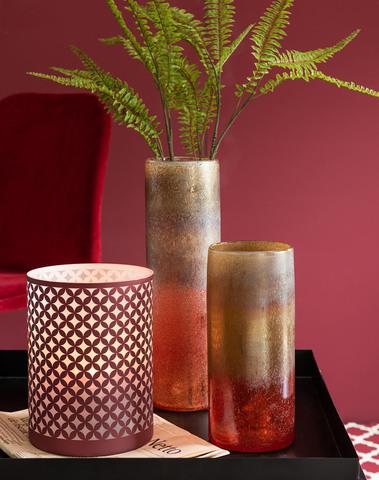 Vaas Cilinder Glas Bordeaux/Oker