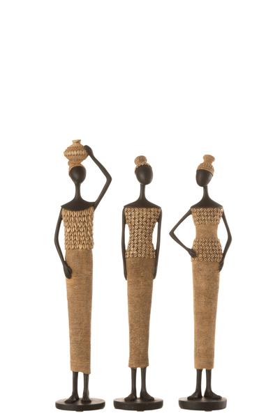 Afrikaanse Figuur Poly Beige/Zwart Small Assortiment Van 3