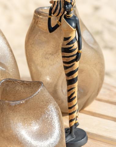 Afrikaanse Vrouw Zebra Poly Zwart/Bruin Medium Assortiment Van 2