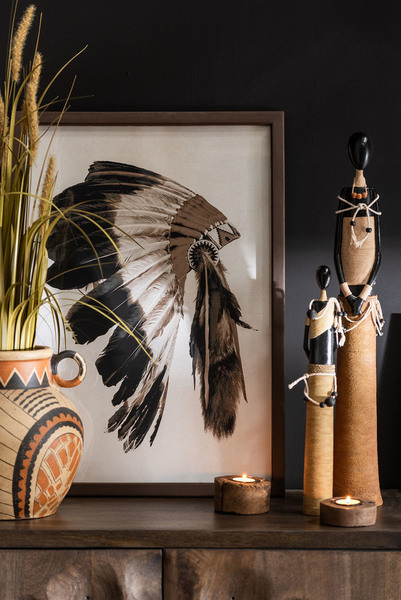 Afrikaanse Figuur Poly Zwart/Beige Small Assortiment Van 3