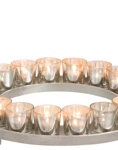 Theelichthouder Cirkel 18 Theelichten Aluminium/Glas Zilver