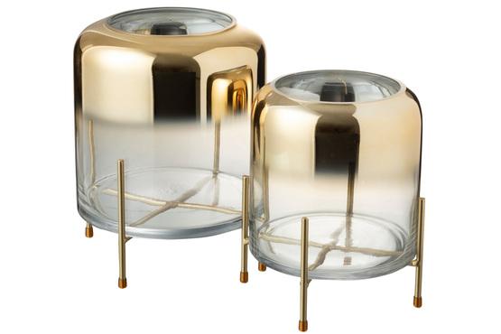 Vaas Op Voet Rond Glas/Metaal Transparant/Goud Large