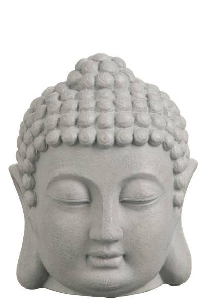 Hoofd Boeddha Poly Grijs Large