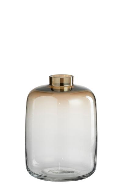 Vaas Arne Rond Glas Transparant/Beige Large